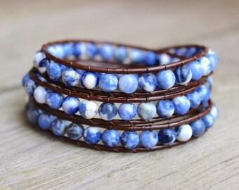 Beaded Leather Wrap Bracelet 3 Wrap with Blue Sodalite Gemstone Beads on Genuine Brown Leather Blue Toned Bracelet