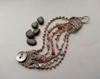 Bead Crochet Cuff Bracelet, Gray Cranberry Brass, Boho Bohemian Chic Jewelry, Hippie Gyspy Accessory, Leaf Button, Smokey Grey Bronze Red