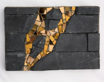 Slate Abstract #4 (Mosaic in Stone and Glass)
