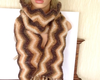 Ooak unique womens designer lace chevron hand knit/crocheted autum,winter cowl,scarf,infinity neckwarmer fringes browns creams