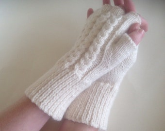 Womens texting, cabled mittens,hand knit/crochet cream naturalfingerless gloves,arm warmers,hand warmers,designer unique hippie