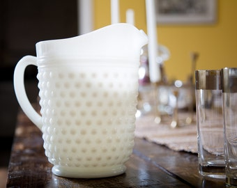 Milk Glass Pitcher Large 1960s Vintage Glassware Collectible