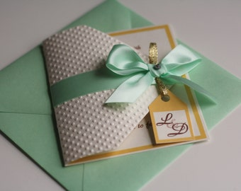 Light mint and Gold Wedding Invitation in Envelope \ Handmade Personalized Invitations with bow, Babyshower Bridalshower Mint invitation