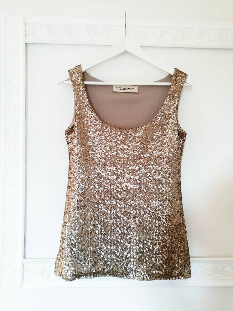 GOLD SEQUIN TOP, sequin tank top, gold evening top, party ...