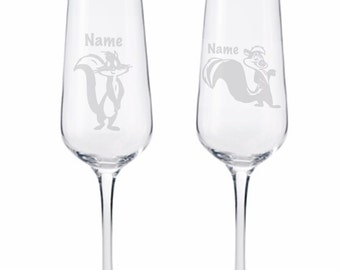 Etched Glasses Pepe le Pew and  Cat
