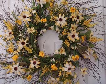 Spring wreath, front door wreath, summer wreath, sunflower wreath, summer door wreath, summer decoration, floral wreath, yellow wreath
