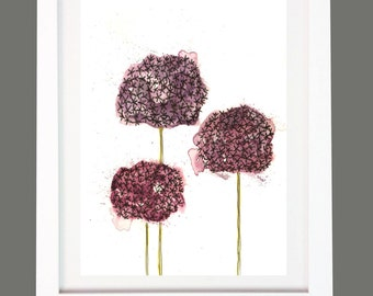 Allium Purple Flower Watercolour Print A4/A3