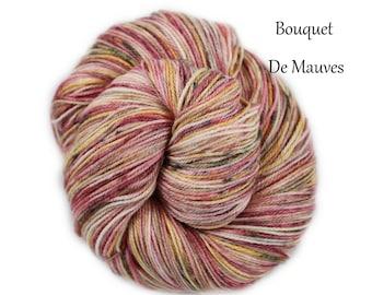 Bouquet De Mauves - Hand Dyed, Hand Painted Panda Sock Yarn (superwash merino, bamboo, nylon) 4oz/113g/450yrds