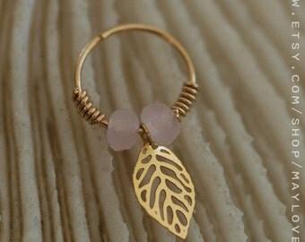Helix Earring - Helix Ring -rose quartz jewelry - helix Ring - Helix Piercing-Helix jewelry cartilage earring hoop, cartilage hoop earring