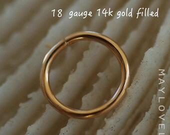 18 gauge nose  Ring Hoop, gold nose hoop Nose Piercing, Tragus Earring, Cartilage Earring, Helix Piercing, 16/18/20/22/24 gauge nose hoop