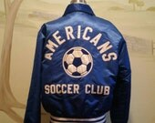 Vtg Satin Varsity Soccer Jacket Americans Soccer Team Clinton M L