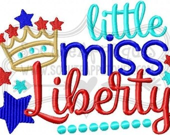 Little Miss Liberty - America - Patriotic Embroidered tee - Customizable -  Infant to Youth