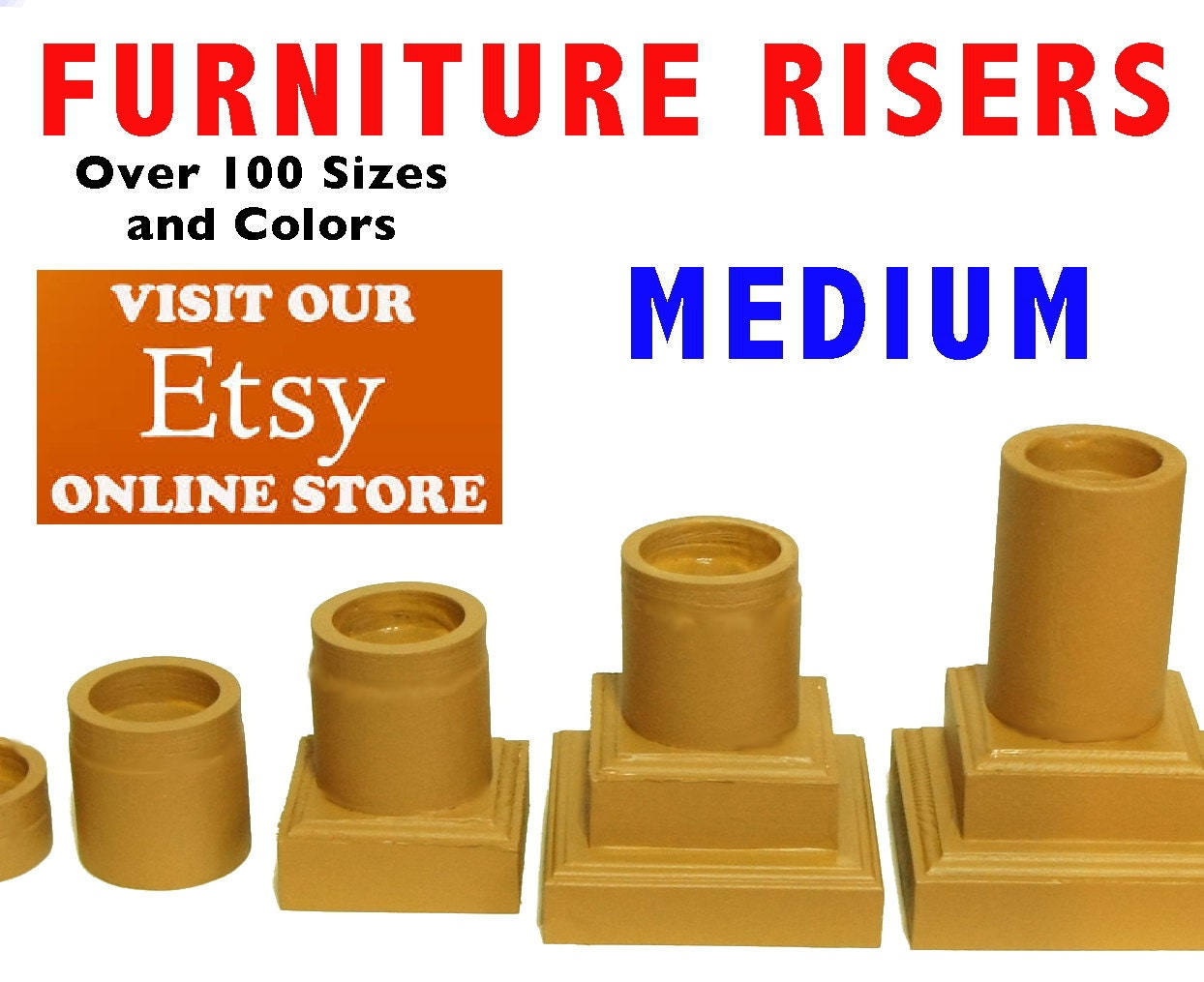 Medium furniture risers and bed lifters by furnitureriserscom for Furniture risers