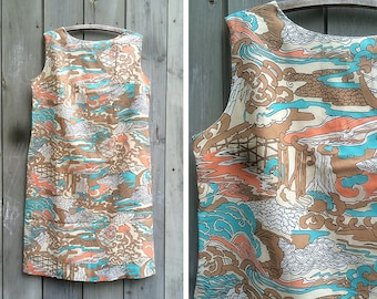 Vintage dress | 1960s abstract novelty print sleeveless mod shift dress