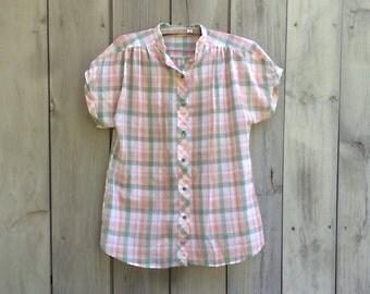 Vintage blouse | Plaid button down George Yazbek for Gordon Peters collarless short sleeve blouse