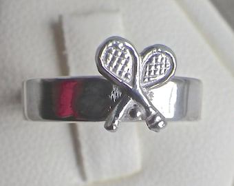 Double Tennis Racket with Ball Sterling Silver Ring