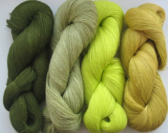 Linen Yarn Moss Green Mustard Yellow 400 gr (14 oz ), Cobweb / 1 ply, each hank contains approximately 3000 yds