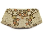 1920's Art Deco Beaded Handbag with Floral Embroidery