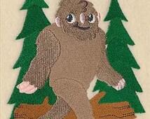 Bigfoot Sasquatch Embroidered Decorative Absorbent White Cotton Flour Sack Towel, Linen Tea Towel, Hand Towel, Guest Towel