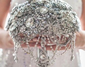 FULL PRICE! The Great Getsby Crystal wedding brooch bouquet, Jeweled Bouquet.  Quinceanera keepsake bouquet
