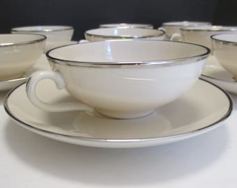 Franciscan Fine China Encanto Shape Platinum Band Pattern - Set of 4 Cups and Saucers (2 sets available)