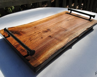 Rustic Walnut Cutting Board with Hand Forged Iron Handles ~ MADE TO ORDER
