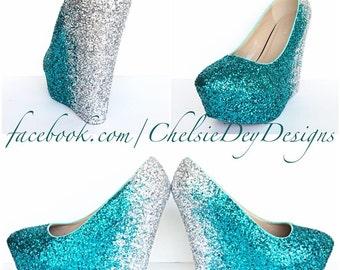 Glitter High Heels Teal Blue White Ombre by ChelsieDeyDesigns