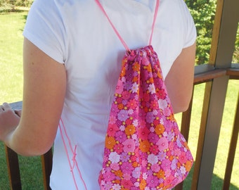 Cloth Drawstring Backpack, Floral Pink Drawstring Bag, Professionally fully lined, knapsack,Pink,White,Orange,Yellow, and Purple Flowers