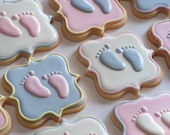 Baby Feet- Pitter Patter - Pastel Decorated Cookies - One Dozen Baby Feet Decorated Sugar Cookies - Perfect for Baby Showers