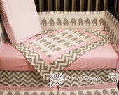 Made to Order Pink and Grey modern baby bedding set