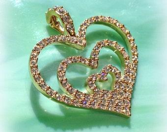 Heart Necklace Rhinestone Vintage Nolan Miller