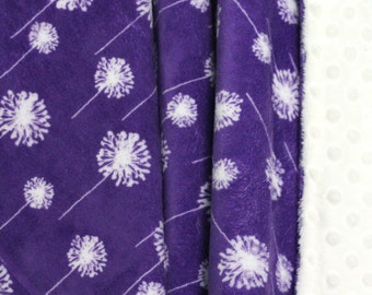 On Sale!**Minky Dandelion Baby Blanket-Baby Blanket-Baby-Baby Girl-Purple Blanket