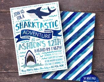 Shark Invitation, Shark Birthday Invitation, Shark Party Invitation, Shark Themed Birthday, Shark Birthday Party, Under the Sea Invitation