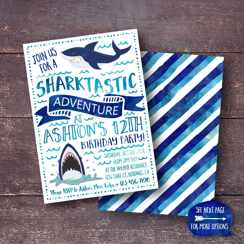 Shark Invitation Shark Birthday Invitation Shark Party