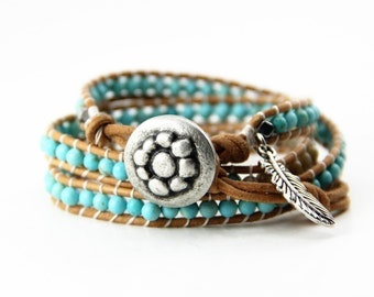 Leather Wrap Bracelet with Turquoise and Jasper Stone Beads and Silver Feather Charm