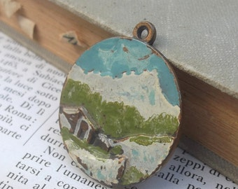 SUMMER SALE Vintage Italian Medal, Hand Painted, Bas Relief, Mountain Pendant, First Snow, Brass, Bronze
