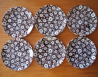 Lovely Set of 6 Vintage Johnson Brothers Country Cupboard Brown Floral Ironstone Side Dishes