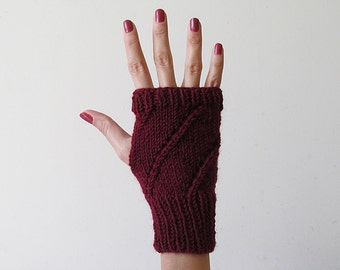 Hand Knit Fingerless Gloves in Burgundy - Arm Warmers - Womens Seamless Knit Gloves - Winter Fashion - Made to Order