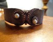 Art Deco, Retro 800 silver European Mesh marcasite pearl bracelet