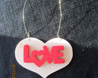 LOVE Natural Wood Heart Ornament