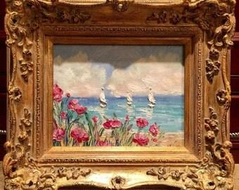 KADLIC Original Oil Painting Floral Seascape Beach Lake Scene Red Poppies Fine Art + Gold Gilt Louis European Wood Frame