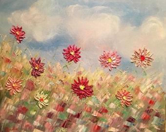 KADLIC Original Oil Painting French Wild Flowers Poppies Landscape Abstract Impressionism Wild Poppy Art 20x24
