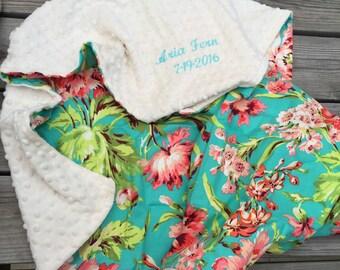 Floral print minky blanket