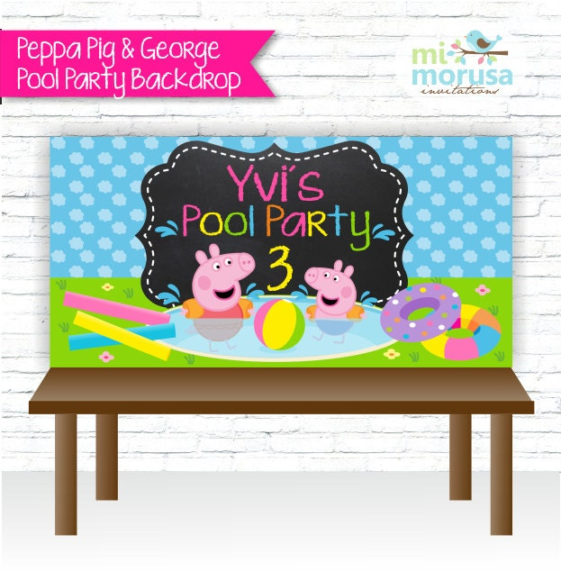 Backdrop Peppa Pig George Pool Party Personalized