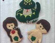 Biblical Friends Adam and Eve 3pc Finger Puppet Set - Quiet Time Play Toy - Imaginative Play - Bible, Garden, Tree of Life, Snake, Church