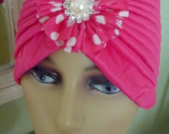 Chemo Hot Pink Turban Hat with Hot Pink and White Polka Dot Jeweled Flower