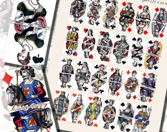 Kings, Queens, Jacks, and Jokers Playing Card Printables, DOMINO SIZE (1x2 Inches, 25x50 mm) AND Mini Domino Size (9/16 x 1 3/16 inches)