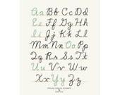 Small Fry Cursive Alphabet - White 11x14