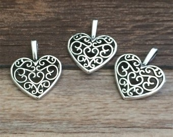 60pieces 15x16mm  Heart charm   -  antique Silver charm pendant  Jewelry Findings