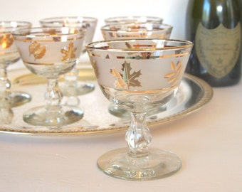 Vintage Champagne Coupe Glasses Saucers Libbey Rock Sharpe Golden Foilage with Gold Leaves  Set of 6 Circa 1950 Mid Century